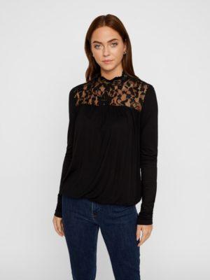 Musta pitsikoristeltu paita - VMBASHA FUNNEL
