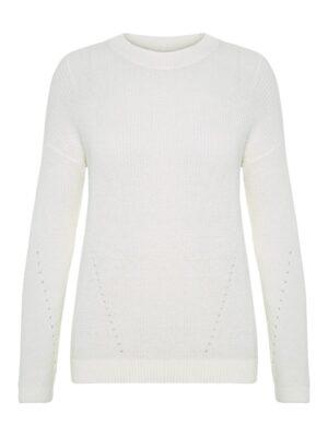 Valkoinen neulepusero - NMSIAN O-NECK KNIT