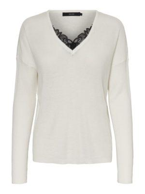 Valkoinen neulepaita pitsillä - VMNORA