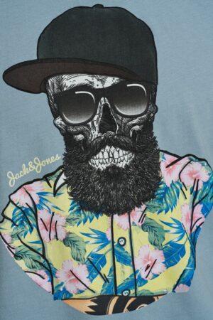 Sininen printillä varustettu t-paita - JORRICKY TEE