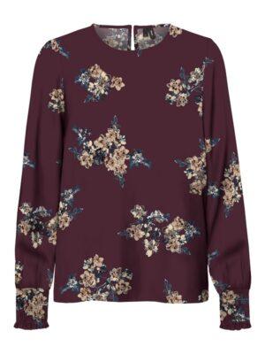 Viininpunainen kukkakuviollinen paita - VMALLIE