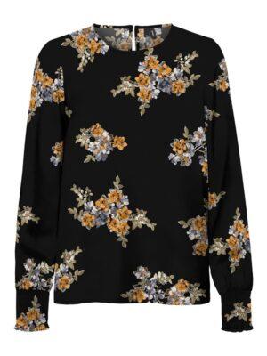 Musta kukkakuviollinen paita - VMALLIE