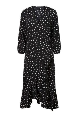 Musta pilkkukuviollinen mekko - VMHENNA