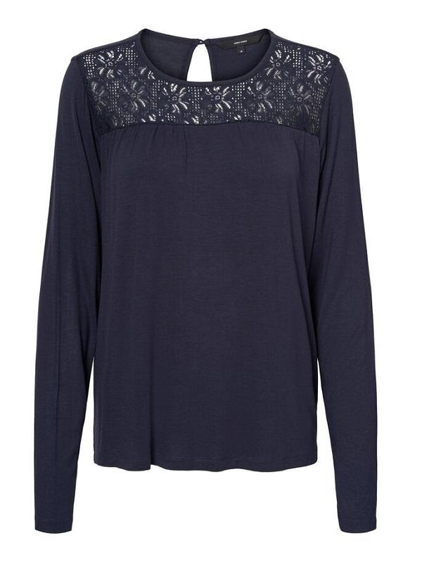 Sininen paita pitsiyksityiskohdalla - VMJASMIN