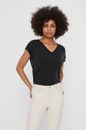 Musta V-kaula-aukollinen t-paita - VMAVA