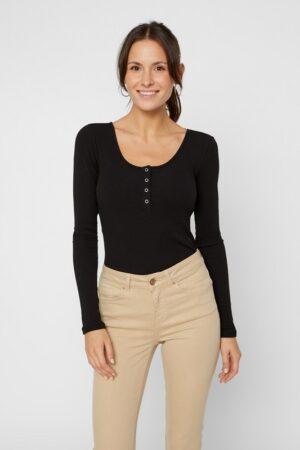 Musta napillinen paita - PCKITTE LS TOP