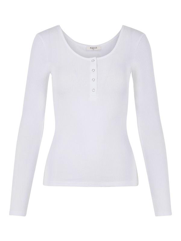 Valkoinen napillinen paita - PCKITTE LS TOP