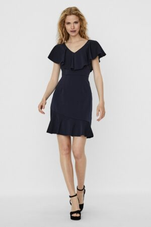 Sininen mekko V-pääntiellä - VMLINE DRESS