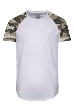 Valkoinen t-paita armeijakuosilla - JORSWOOP TEE