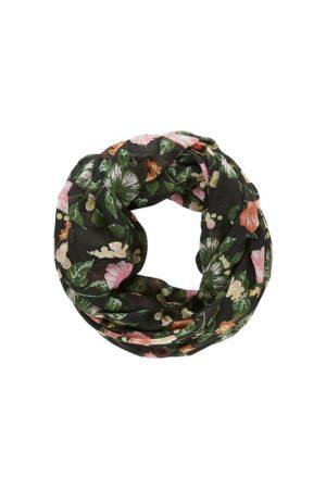 Musta kukkakuviollinen tuubihuivi - PCMETTY TUBE