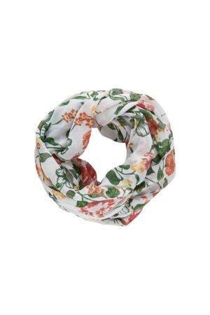 Valkoinen kukkakuviollinen tuubihuivi - PCMETTY TUBE