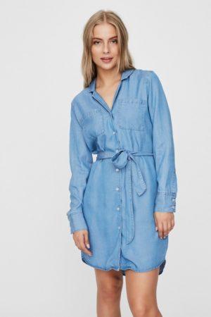 Pitkähihainen farkkukankainen mekko - VMLISA