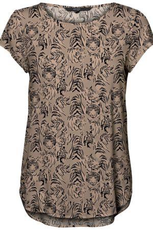 Ruskea kuviollinen t-paita - VMBOCA BLOUSE