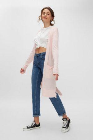 Vaaleanpunainen pitkänmallinen neuletakki - NMBECCA