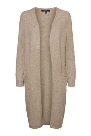 Beige neuletakki - VMDOFFY LONG OPEN CARDIGAN