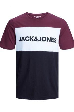 T-paita viininpunaisella väriblokilla - JJELOGO BLOCKING TEE