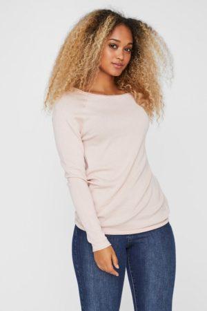 Vaaleanpunainen neulottu pusero - VMNELLIE BLOUSE