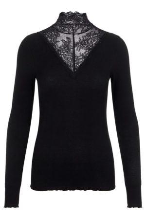 Musta korkeakauluksinen paita pitsillä - PCSIRI T-NECK TOP