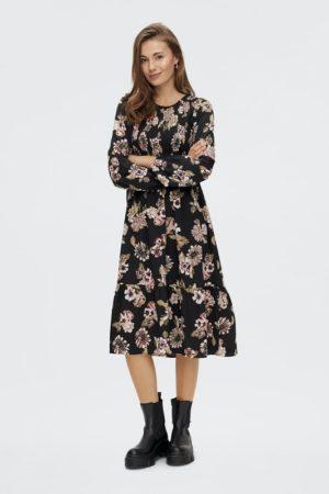 Musta kukkakuviollinen mekko - PCEMBER LS SMOCK MIDI DRESS