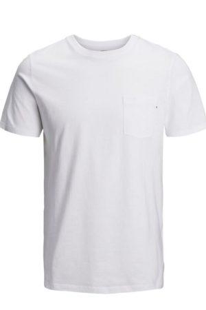 Valkoinen t-paita rintataskulla - JJEPOCKET TEE SS O-NECK