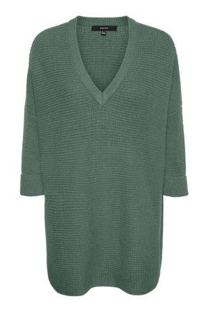 Vihreä pitkä neulepaita - VMLEANNA V-NECK LONG BLOUSE