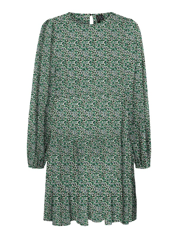 Kukkakuosinen A-linjainen mekko - VMMINDY CALF DRESS