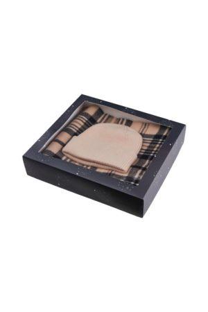 Beige pipo ja ruutuhuivi lahjapaketissa - PCERISMA XMAS BOX